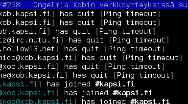 Kuva IRC:stä, kun Xobilta irkkaavat quittailevat 31.5.