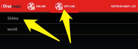 Valitse juuri luotu offline-kartta