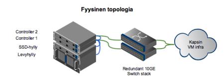 Fugu-levypalvelin sisältää kaksi ohjainyksikköä, SSD-hyllyn ja aluksi yhden varsinaisen 5U kokoisen levyhyllyn. Yhdistyksen muuhun infrastruktuuriin liittytään yhdistyksen 10GE verkkoinfran kautta.